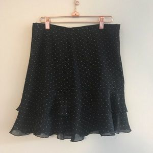 The Limited Silk Polka Dot Ruffle Skirt